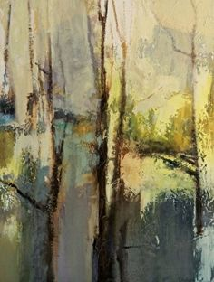 """Spring Emerging-Abstract Landscape by Joan Fullerton Mixed Media 40"""" x 30"""""""