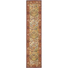 Heritage Multi-Colored and Red Runner: 2 Ft. x 10 Ft. Rug