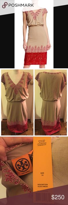 NWT Tory Burch Alice Dress Beautiful dress, hits mid calf. Beading and lace looking detail. Lined. Perfect for fall! Purchased for a wedding but never worn. Let me know if you have any questions or would like more photos! Tory Burch Dresses Midi