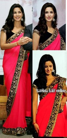 Katrina Kaif in Manish Malhotra Saree. Hot pink and black is always a good idea.