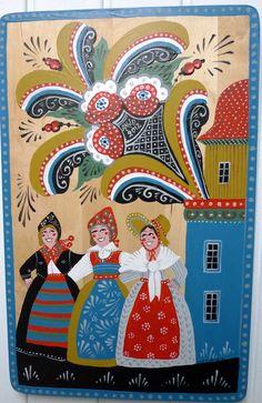 Jig Saw, German Folk, Arte Country, Art Populaire, Scandinavian Folk Art, Folk Embroidery, Naive Art, Tole Painting, Traditional Art