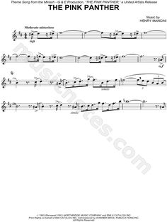 """Henry Mancini """"The Pink Panther"""" Sheet Music (Alto Saxophone Solo) - Download & Print"""