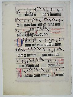 Manuscript Leaf with Initial O, from an Antiphonary Date: second quarter 15th century Geography: Made in probably Mainz, Germany Culture: German Medium: Tempera, ink, and metal leaf on parchment Dimensions: 20 1/8 x 14 11/16 in. (51.1 x 37.3 cm)