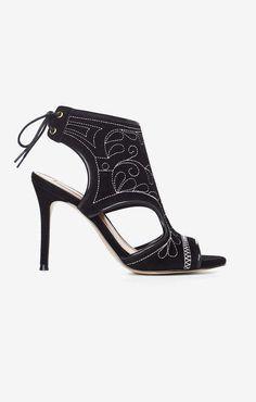 BCBGMAXAZRIA BCBG Myah Embroidered Faux-Suede Sandal