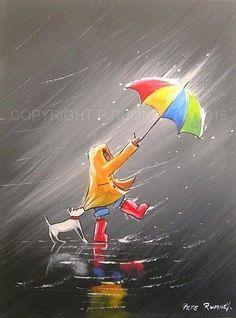 PETE RUMNEY FINE ART MODERN ACRYLIC OIL ORIGINAL HOLD ON TIGHT UMBRELLA PAINTING in Art, Artists (Self-Representing), Paintings | eBay