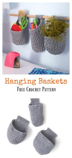 Hanging Baskets Free Crochet Pattern #freecrochetpatterns #baskets