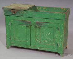 Apple Green-painted Poplar Dry Sink, possibly Pen