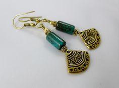 Turquoise Magnesite Earrings Stone Beaded by GemstonesOnMyMind, $18.00