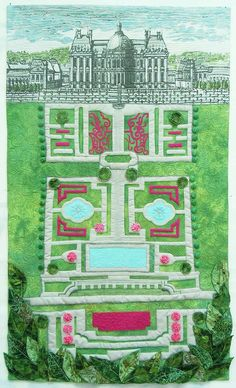À La Carte - garden plan of the Chateau de Vaux le Vicomte built in the 17th century by French Finance Minister Nicholas Fouquet. Digitally printed cotton, fused applique', paint and embellishments.  Sally Gould Wright Textile Artist