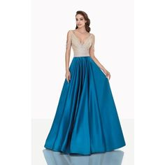 Tarik Ediz 92695 Ball Gown Long High Neckline Sleeveless ($1,304) ❤ liked on Polyvore featuring dresses, gowns, gown, formal dresses, oil, long evening gowns, blue formal dresses, long formal evening gowns, long gowns and wrap dress