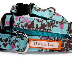 Turquoise blue dog collar Bird woodland style fabric cute pet collar small dog collar - large dog collar Dog leash & harness are available