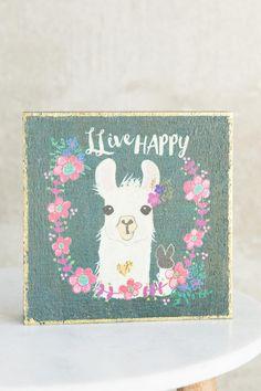 Live Happy Llama Box Sign- gift-clalternate