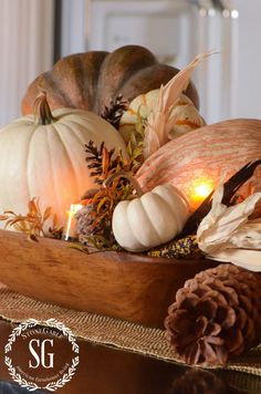 FALL HOME TOUR-pumpkins-kitchen island-stonegableblog.com