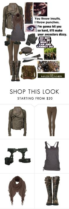 """Maze Runner // ""You Throw Insults, I Throw Punches"""" by somenormalpanda ❤ liked on Polyvore featuring Rick Owens, Tommy Hilfiger, Skingraft, Jane Norman and Belstaff"
