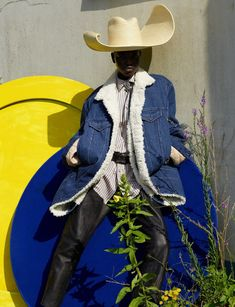Shearling jacket Y/Project, striped cotton shirt Gucci, leather chaps Angharad Merrey for Savannah, warped palm leaf sombrero Melissa Eakin, leather bolo tie Cenci. Adut Akech by Vivianne Sassen for Dazed Autumn Athleisure, Wow Image, Denim Waistcoat, Black Cowgirl, Black Cowboys, Viviane Sassen, Jackie Aina, Dazed Magazine, Joan Smalls
