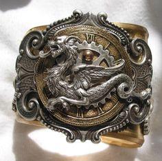Brazalete de bronce Steampunk Dragon