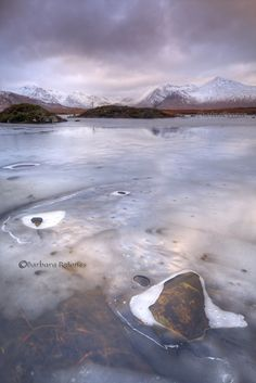 Blackmount and Lochan na h-Achlaise. Reflections in the Ice. Rannoch. Highland Scotland.