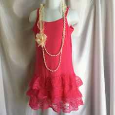 Girls Pink Tank with Lace Bottom