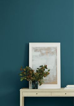Deep Dive - dark blue green interior paint color by Clare. Deep blue paint color on walls in entryway. Best Interior Paint, Interior Paint Colors, Home Interior, Interior Painting, Interior Design, Natural Interior, Scandinavian Interior, Interior Office, Interior Plants