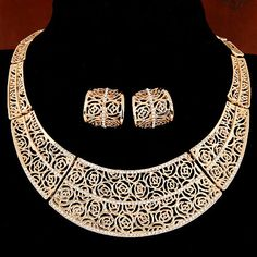 African Costume Jewelry Sets For Women  Bridal Accessories Big Chokers Necklace Set 2016 Collares New Year Gift