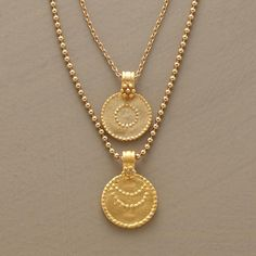 LUNA/SOL NECKLACE--Charms of 24kt gold vermeil hand brushed to a matte finish represent the sun and moon. The necklace suspends one from each of two vermeil chains, one a ball chain, the other links