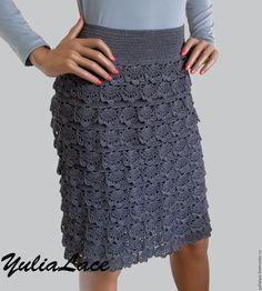 Купить Юбка вязаная серая - многоярусная юбка, вязаная юбка, юбка, юбка крючком