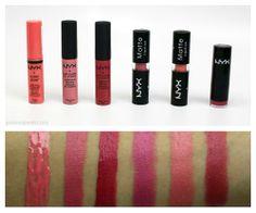 NYX lip swatches