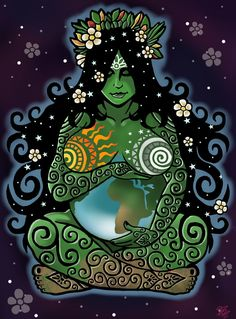 'The Goddess is not just an ancient statue or an energetic archetype, she is present us, in the beauty of nature, in every living creature and leaf of plant. Begin to see her life giving energy, feel it in your own body, she is the joy of movement, and the single falling tear, she is the sacred feminine inhabiting both women and men and she has returned to offer us a gift - a gift to reclaim this planet as heaven on earth through the energetic vibration of love.' - Earth Mother by ORUPSIA
