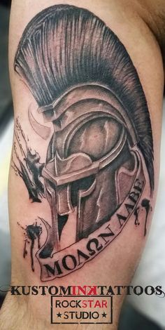 What does molon labe tattoo mean? We have molon labe tattoo ideas, designs, symbolism and we explain the meaning behind the tattoo. Patriotische Tattoos, Body Art Tattoos, Sleeve Tattoos, Mens Tattoos, Tattoo Ink, Molon Labe Tattoo, Chinese Tattoo Designs, Tattoo Designs Men, Warrior Tattoos