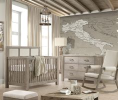 we love this beautiful and rustic nursery featuring liz and roos cloud linens bedding this sophisticated baby bedding makes this room perfect for a baby baby nursery rockers rustic