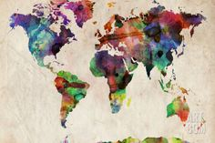 World Map Urban Watercolour Stretched Canvas Print by Michael Tompsett. Save up to 40% for a limited time at Art.com.