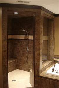 Open Walk In Shower. Just love the colors Love walk-in showers but not fond of color-like lighter gray with darker grout. Need bench, hand held shower head and seamless walk in with no glass to accommodate disability!