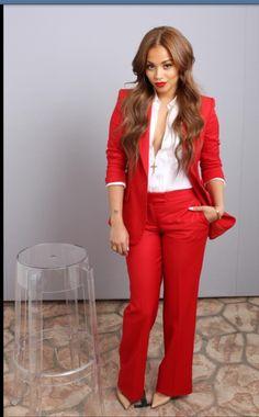 Gorgeous red pant suit. Lauren London