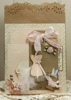 handmade bag w/dress form, ribbon, kraft bag, buttons, pink and brown