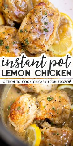 Instant Pot Lemon ChickenMake this Instant Pot Lemon Chicken for dinner tonight – everyone will love it. Even better: It's SO quick and easy to make – and you can even cook the chicken from frozen! Make this Instant Pot Lemon Chicken for dinner tonight Best Instant Pot Recipe, Instant Pot Dinner Recipes, Quick Recipes For Dinner, Quick And Easy Recipes, Lemon Recipes Dinner, Dessert Recipes, Instant Recipes, Breakfast Recipes, Crock Pot Recipes