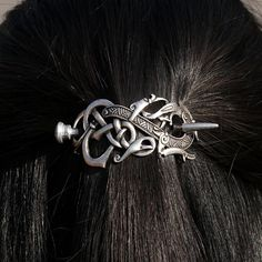 Norse Dragon Knot Hair Clip. #norse #celtic #hairstyle #women #barrette