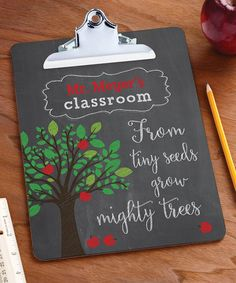 Adorned with a heart-warming message, this clipboard offers a personalized way to celebrate your favorite teacher.  Shipping note: This item will be personalized just for you. Allow extra time for your special find to ship.