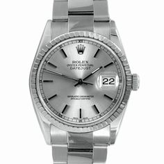 This stylish men's pre-owned Rolex Datejust watch features a stainless steel case with a matching oyster bracelet. The silver dial is home to factory hands and stick markers with a date window at 3 o'clock. - watches for men on sale, sector watches, classic mens watches *sponsored https://www.pinterest.com/watches_watch/ https://www.pinterest.com/explore/watch/ https://www.pinterest.com/watches_watch/invicta-watches/ https://www.rolex.com/watches.html