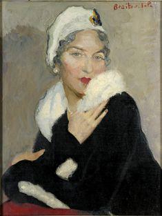 Braïtou-Sala (1885-1972), Portrait de Marie-Jeanne à l'hermine, 1935