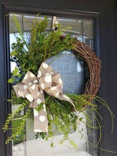 Diy Wreath, Grapevine Wreath, Wreath Ideas, Wreath Making, Greenery Wreath, Flower Wreaths, Hydrangea Wreath, Summer Wreath, Spring Wreaths