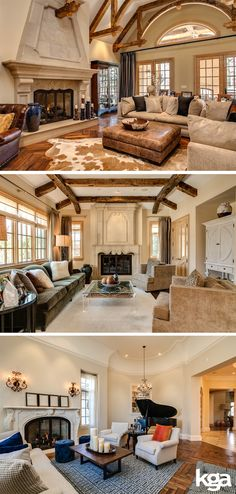 Traditional home with off-white walls and exposed wood ceiling beams. By KGA Studio Architects, PC.