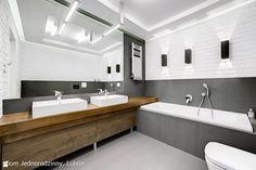Łazienka styl Minimalistyczny - zdjęcie od Auraprojekt - Łazienka - Styl Minimalistyczny - Auraprojekt Bathroom Floor Plans, Bathroom Flooring, Air B And B, Double Vanity, Sweet Home, Interior Design, Mirror, House, Inspiration