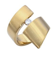 Elegant Twirly Statement Ring Gold Chunky Plated with Crystal CZ - Classic JL ** To view further for this item, visit the image link. (This is an affiliate link and I receive a commission for the sales)