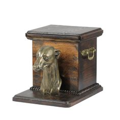 Wooden urn, made of birch with cold cast bronze statue ♥ Cremation Boxes, Dog Cremation, Dog Urns, Brass Handles, Whippet, Birch, Your Pet, Decorative Boxes, Bronze