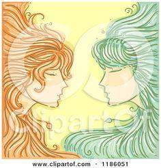 Gemini Zodiac Description | Cartoon of a Twin Gemini Horoscope Zodiac Background - Royalty Free ...
