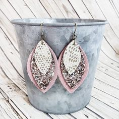Blush Pink Leather Earrings, Pink Glitter Earrings, Layered Leather Earrings, Sparkle Earrings, Pink Earrings, Blush Earrings, Long Earrings by whiteshedcreations on Etsy