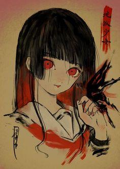 Name a better and more iconic hairstyle than the h - Anime & Manga - H Anime, Kawaii Anime, Anime Art Girl, Manga Art, Dark Drawings, Cool Drawings, Enma Ai, Illustrations, Illustration Art