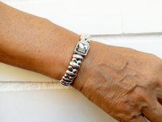 Swarovski Crystal Bracelet Leather Bracelet por KuentaAlKuadrado
