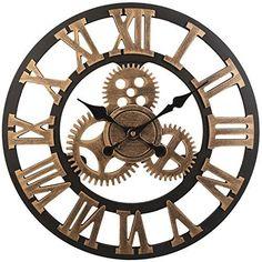 Reto vintage Wanduhr für zuhause, perfekt um jedem Wohnzimmer den nötigen touch zu verleihen.   #vintage #Uhr #Wanduhr #Schlafzimmer #Wohnzimmer #retro #classic #Deko #affiliate Wall Clock Copper, Wooden Clock, Wooden Walls, Color Cobre, Copper Color, Gear Clock, Gold Walls, Large Clock, Handmade Wooden