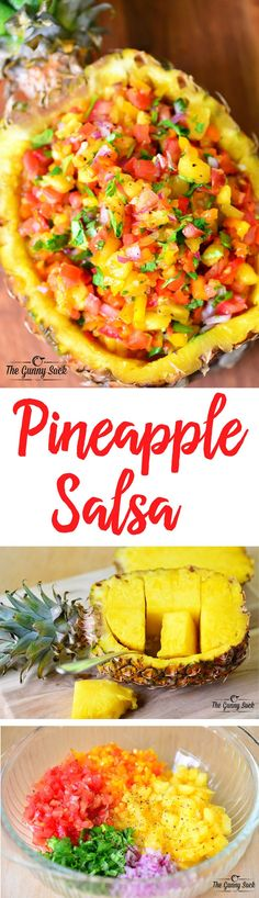 This pineapple salsa recipe has a delicious combination of sweet and spicy. It can be served with grilled chicken or fish or as an appetizer with chips. It looks pretty in a hollowed out pineapple bowl! Luau Party Snacks, Luau Appetizers, Mexican Food Appetizers, Luau Desserts, Birthday Appetizers, Summer Party Appetizers, Luau Food, Luau Drinks, Summer Party Foods